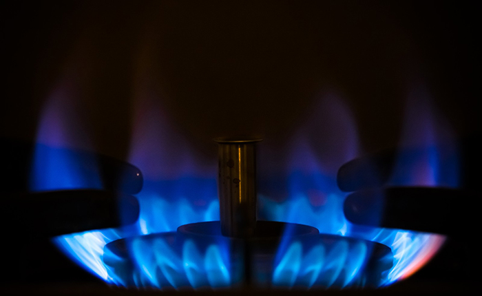 コンロの青い火
